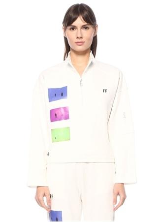 For Fun Kadın Beyaz Dik Yaka Baskılı Sweatshirt S EU