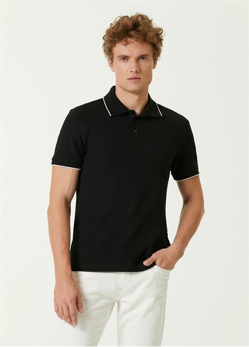 Slim Fit Siyah Polo Yaka Dokulu T-shirt