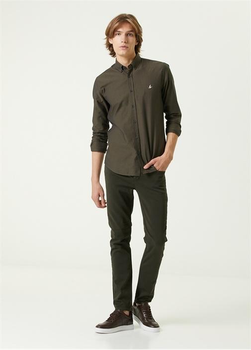 Slim Fit Haki Düğmeli Yaka Oxford Gömlek