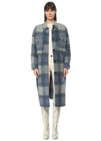 Etoile Isabel Marant Kadın Mavi Krem Ekose Desenli İngiliz Yaka Yün Palto Lacivert 0 US