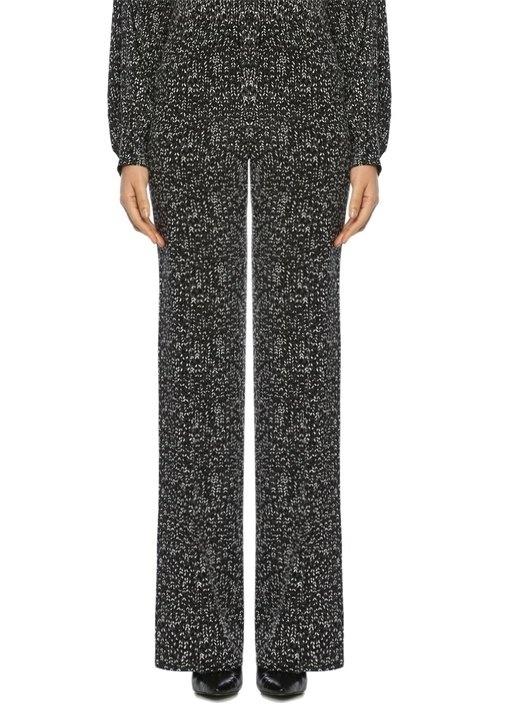 Siyah Normal Bel Desenli Bol Paça Krep Pantolon