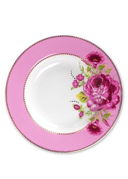 Floral Pip Pembe Çorba Tabağı