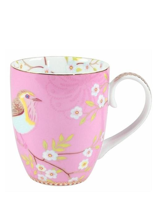 Floral Pip Kuş Desenli Pembe Mug