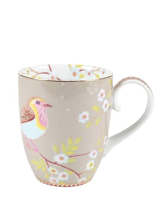 Floral Pip Kuş Desenli Haki Mug
