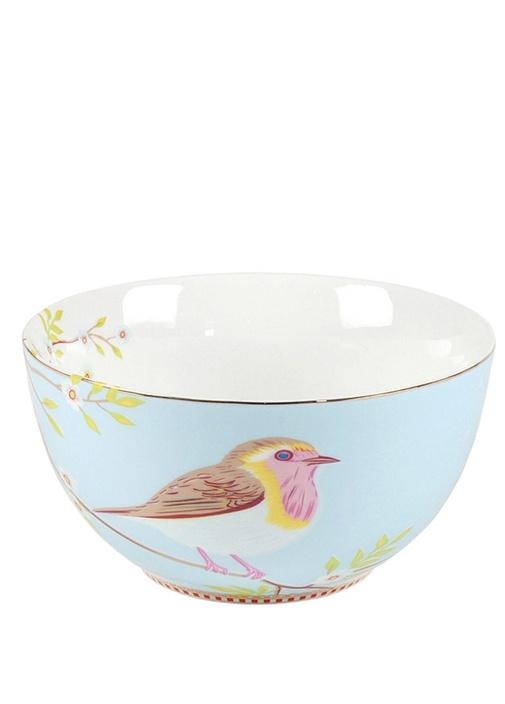 Floral Pip Kuş Desenli Mavi Kase