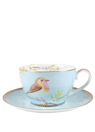 Pip Studio Floral Kuş Desenli Mavi Çay Fincanı Standart
