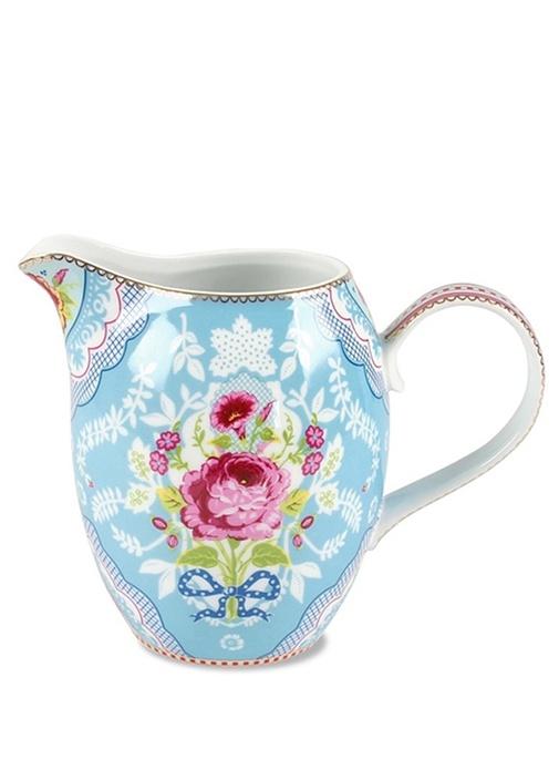 Floral Mavi Büyük Sütlük