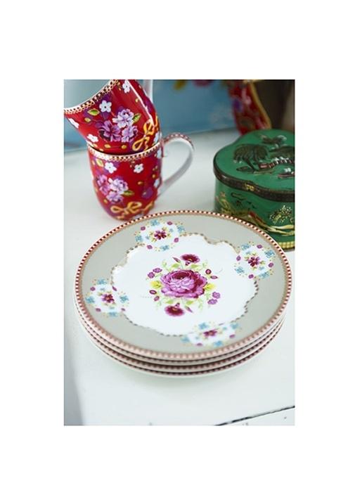 Floral Pembe Kek Tabağı