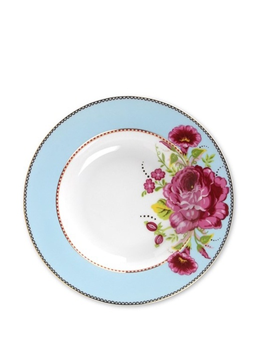 Floral Mavi Çorba Tabağı