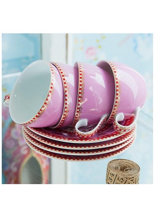 Floral Pip Pembe Çay Fincanı
