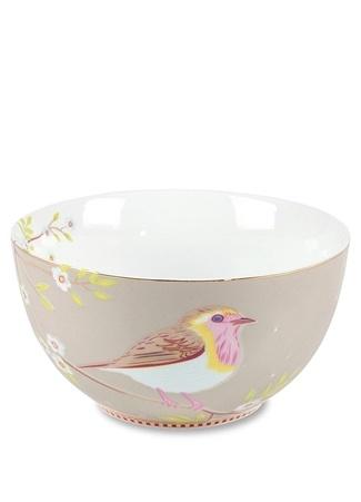 Pip Studio Floral Kuş Desenli Haki Kase Standart