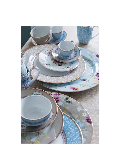 Floral Pip Mavi Yemek Tabağı