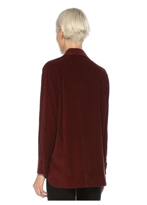 Bordo Göğsü İşlemeli Bol Kadife Gömlek