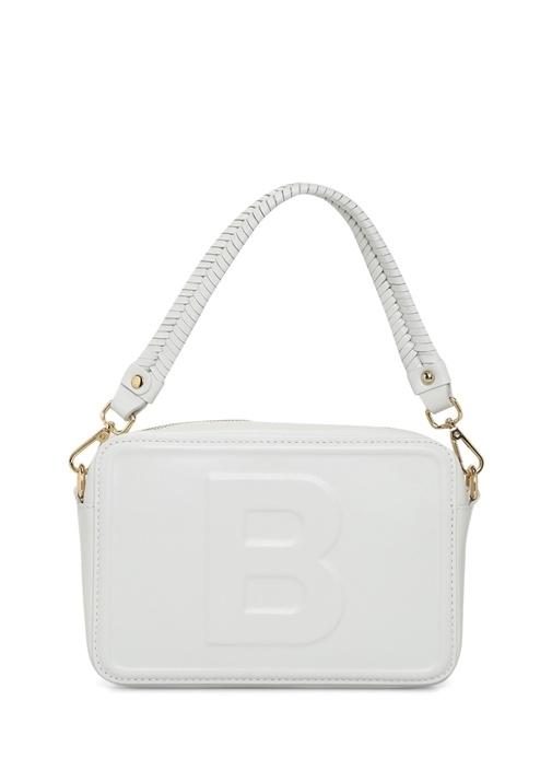 Bea Beyaz Logolu Kadın Deri Omuz Çantası