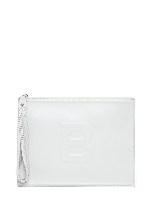 Bea Beyaz Logolu Kadın Deri El Portföyü