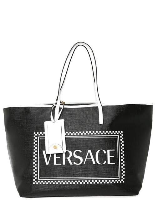 Siyah Beyaz Logo Baskılı Alışveriş Çantası
