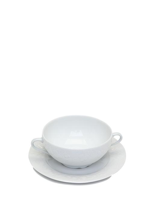 Beyaz Yuvarlak Formlu Kulplu Porselen Kase