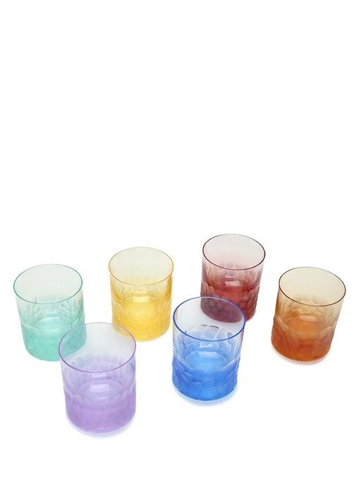 6lı Renkli Kristal Viski Bardağı Seti
