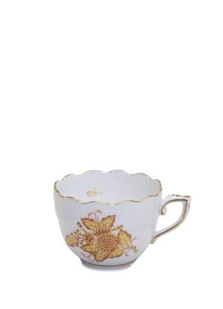 Herend Beyaz Çiçek Desenli Porselen Kahve Fincanı Standart