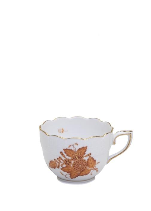 Beyaz Çiçek Desenli Porselen Kahve Fincanı