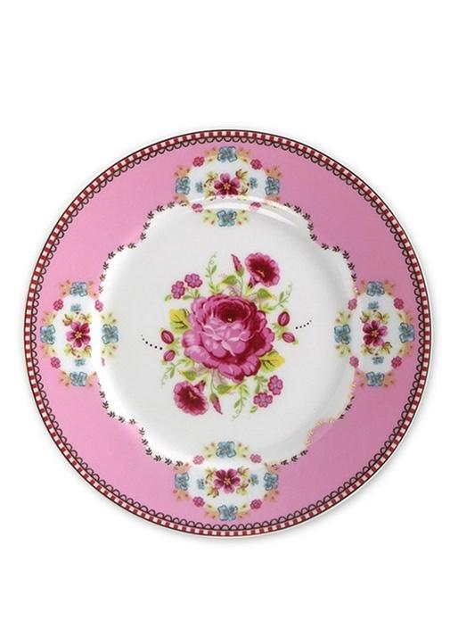 Floral Pip Pembe Kek Tabağı