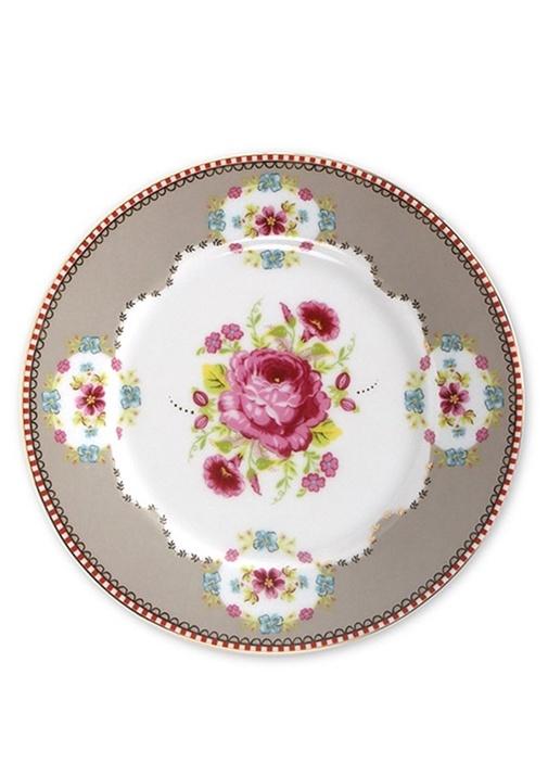 Floral Pip Haki Kek Tabağı