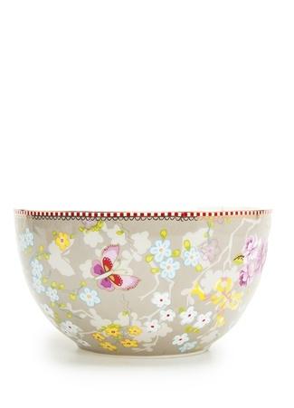 Pip Studio Floral Çiçek Desenli Haki Kase Standart