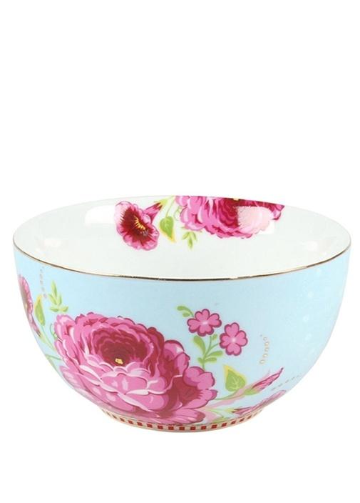Floral Pip Gül Desenli Mavi Kase