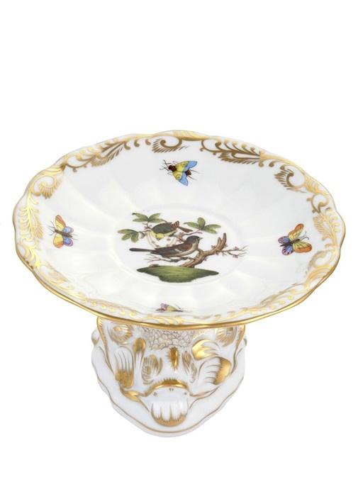 Beyaz Balık Form Ayaklı Kuş Desenli Porselen Tabak