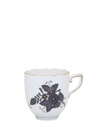 Herend Beyaz Çiçek Desenli Porselen Kahve Fincanı Gri Standart