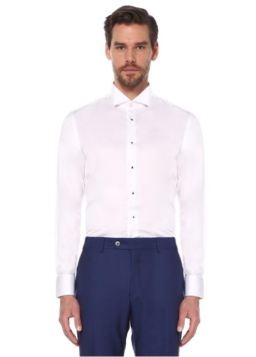Beyaz Ata Yaka Standart Fit Smokin Gömleği