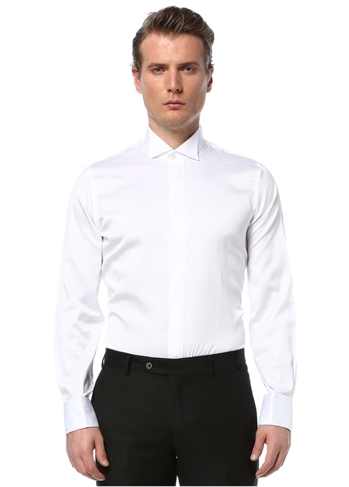 Custom Fit Beyaz Ata Yaka Pliseli Devrik Manset Smokin Gömlegi