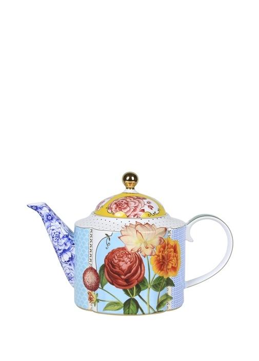 Royal Mavi Çiçek Desenli Demlik