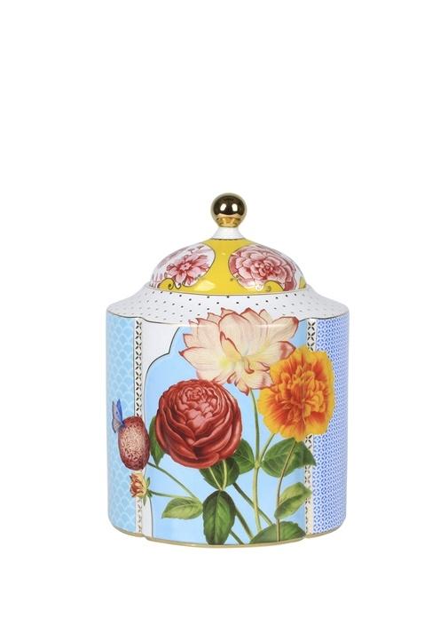 Royal Mavi Çiçek Desenli Küp
