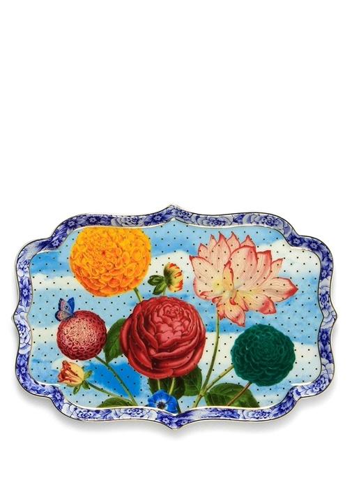Royal Mavi Çiçek Desenli Tepsi