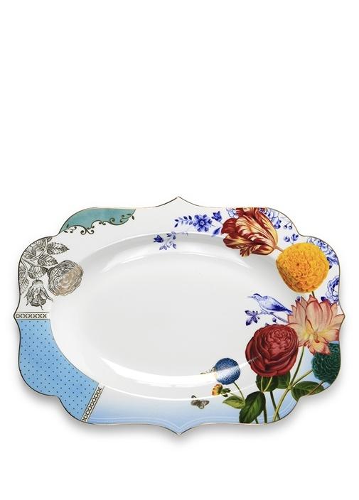 Royal Beyaz Mavi Çiçek Desenli Oval Servis Tepsisi