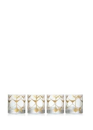 Accract Touch Dekoratif Desenli Cam 4lü Bardak Seti Altın Rengi