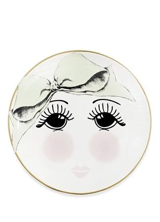 Miss Etoile Göz Baskılı Fiyonk Detaylı Seramik Tabak Beyaz Ürün Resmi