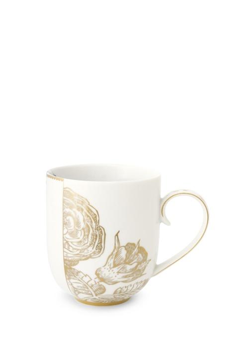 Royal Beyaz Altın Çiçek Desenli Mug