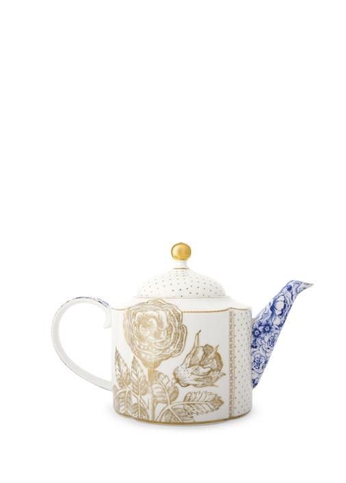 Royal Beyaz Demlik Altın Çiçek Desenli