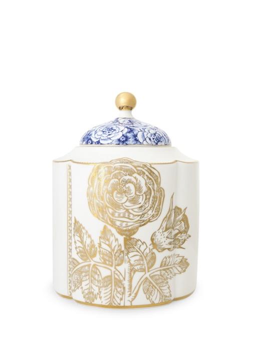 Royal Beyaz Küp Orta Boy Altın Çiçek Desenli