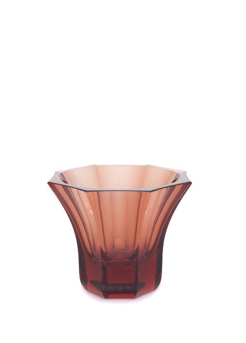 Kırmızı Çizgi Oluklu Kristal Vazo