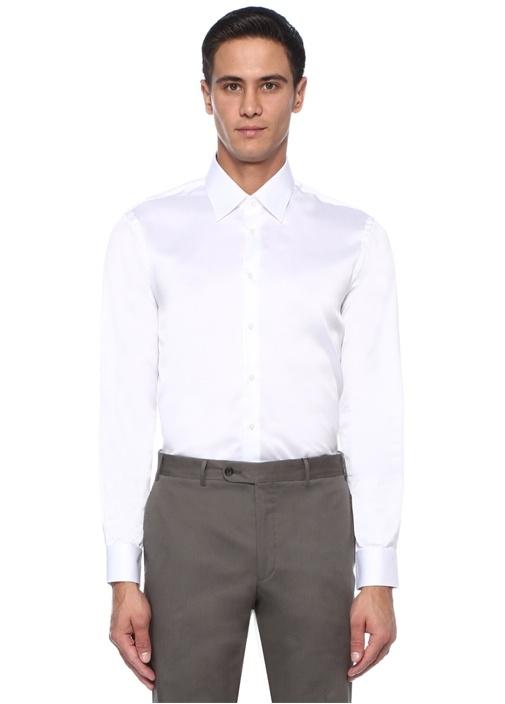 Custom Fit Beyaz Sivri Yaka Gömlek