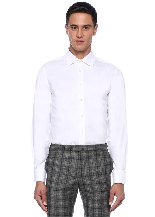 Custom Fit Beyaz İngiliz Yaka Dokulu Klasik Gömlek