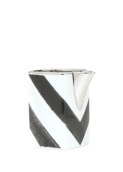 Soly Sombra Siyah Beyaz Porselen Sütlük