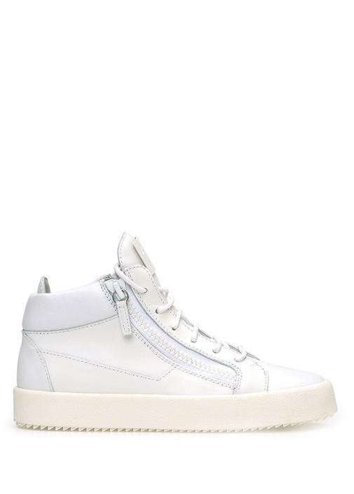 Giuseppe Zanotti Beyaz KADIN  Beyaz Logolu Kadın Deri Sneaker 161160 Beymen