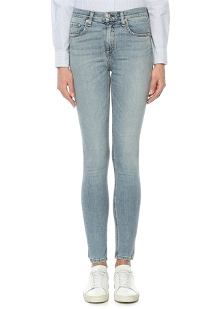 Dive Mavi Yüksek Bel Dokulu Dar Paça Jean Pantolon