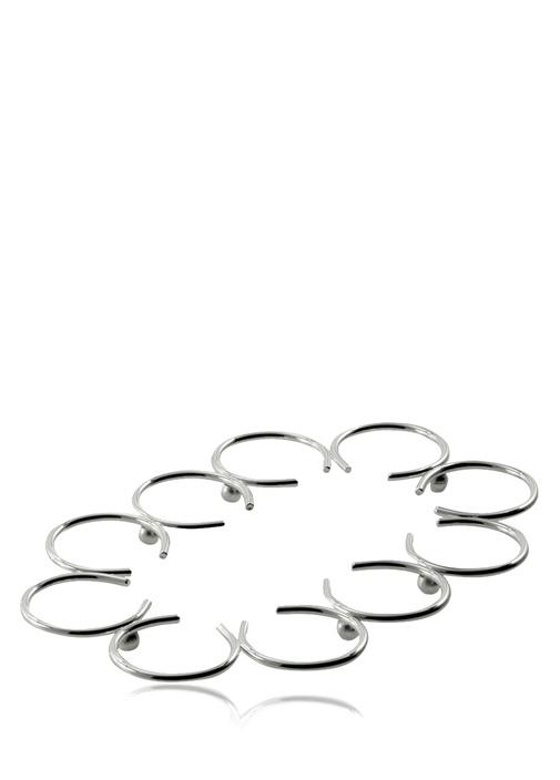Oval Formlu Halka Detaylı Gümüş KaplamaNihale