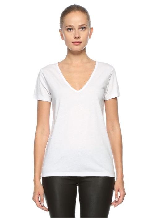Beyaz V Yaka Tshirt