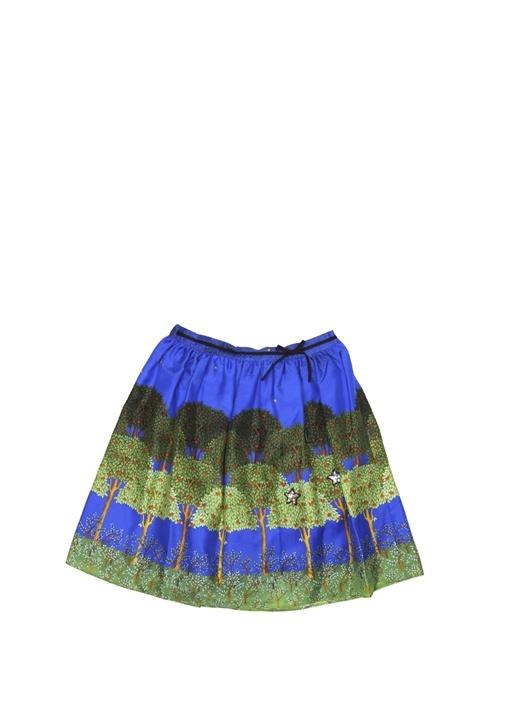 Yeşil Mavi Baskılı Kız Çocuk İpek Etek